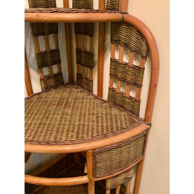 Vintage Rattan Corner Cabinet For Sale - Image 9 of 11