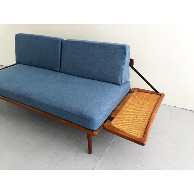 Blue Mid Century Modern Peter Hvidt & Orla Mølgaard Nielsen Teak & Cane Sofa Set- 2 Pieces For Sale - Image 8 of 10