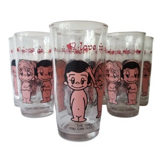 Kim Casali Love Is Drinking Glasses 1970's Los Angeles Times - Set of 8 For Sale
