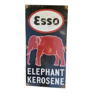 Enamel Elephant Esso Sign For Sale