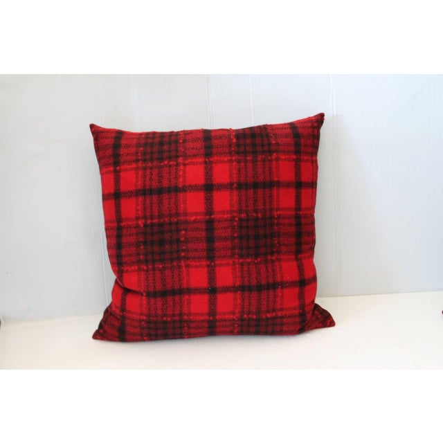 Pendleton Woolen Mills Pair of Red and Black Plaid Pendleton Blanket Pillows For Sale - Image 4 of 5