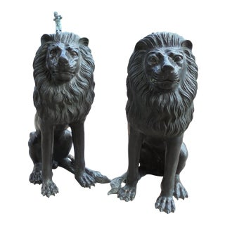 Erik Kramer Bronze Lion Garden Sculptures - A Pair For Sale