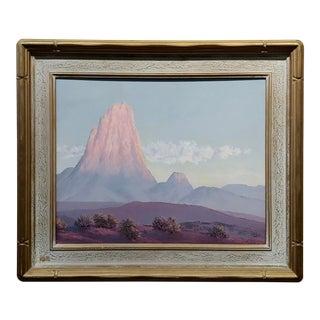 """John William Hilton """"Pilar of Fire in California Desert"""" Landscape Oil Painting For Sale"""
