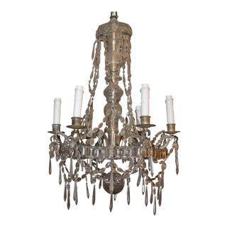 "1910 - 1920 Antique French Art Deco ""Maison Bagues"" Signed Cut Crystal Steel Framed 6 Light Chandelier"