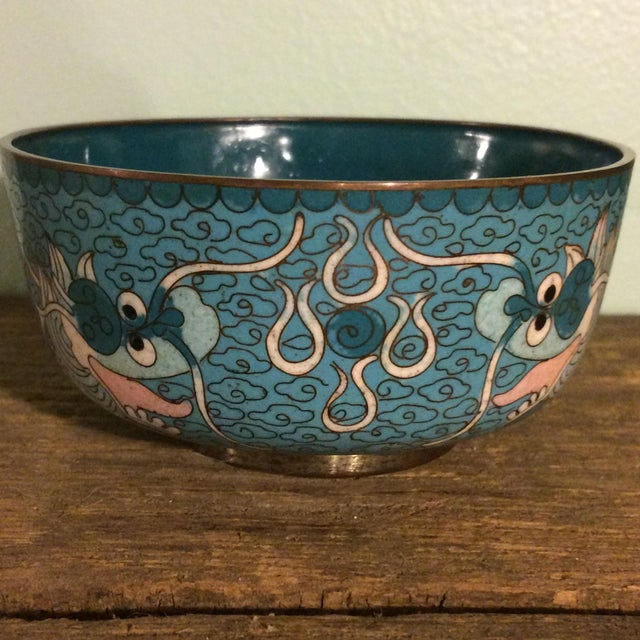 Antique Cloisonne Bowl Featuring Chinese Dragons - Image 2 of 5