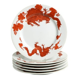 Fitz & Floyd Temple Dragon Salad Plate Set/6 For Sale