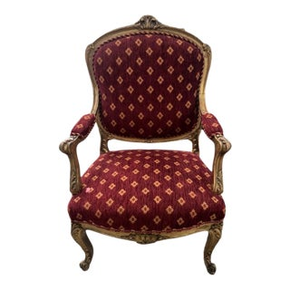 Antique Gilt French Arm Bergaire Chair Red Fabric For Sale
