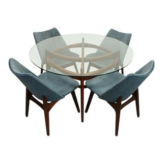 Adrian Pearsall Mid Century Modern 2458-48t Walnut Glass Dining Table 2416-C Blue Velvet Dining Chairs Dining Set