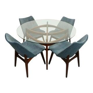 Adrian Pearsall Mid Century Walnut Glass Top Dining Set
