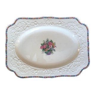 Large 1930s English Floral Serving Decorative Platter