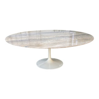 Vintage Maurice Villency Tulip Base Travertine Cocktail Table For Sale