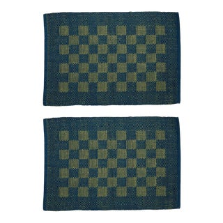 Checkerboard Placemats- Teal - A Pair For Sale