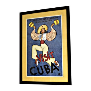 Framed Vintage Cuban Travel Poster