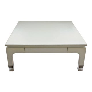 1980s Harrison-Van Horn Modern Lacquered Raffia Coffee Table For Sale
