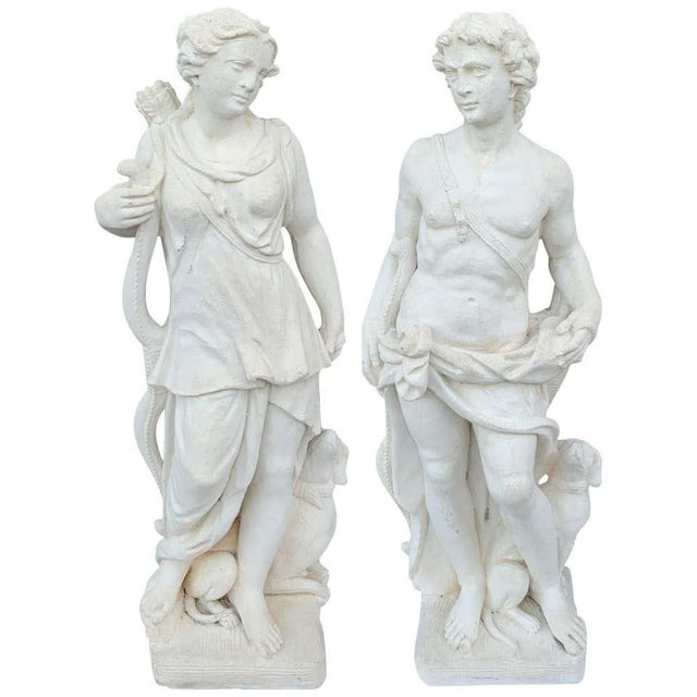 Pair of Vintage Cast Stone Statues of Apollo & Diana For Sale - Image 11 of 11