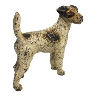 1930s Hubley Manufacturing Company Cast Iron Fox Terrier Dog Doorstop For Sale