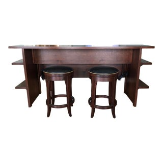 Traditional Stickley Black Leather and Oak Gathering Island with Stools - 3 Pieces