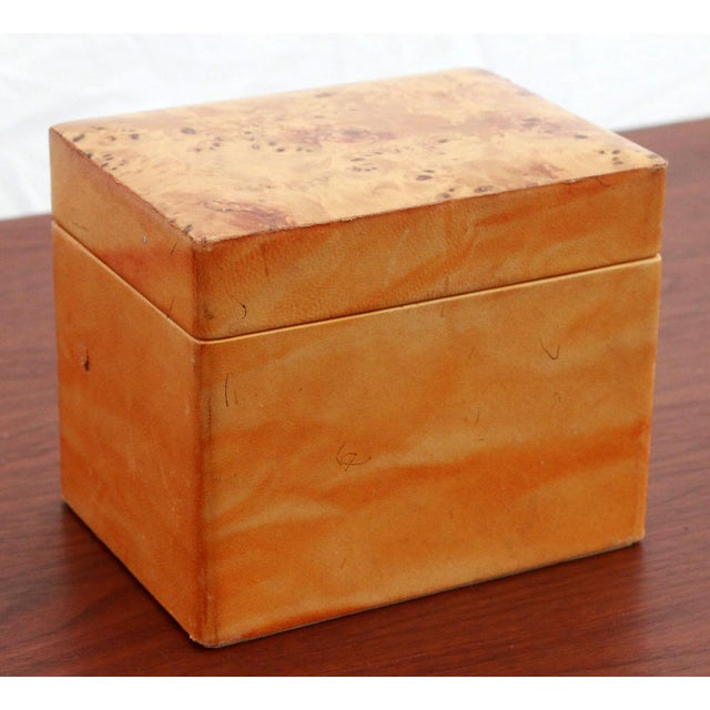 "Vintage Leather & Burlwood Trinket Box or Humidor, c.1960's Made in Italy. It measures 6"" wide, 4 1/4"" deep and 5"" tall...."