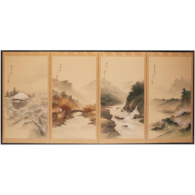 C. 1920-1940s Japanese Four Landscapes Byobu Screen For Sale