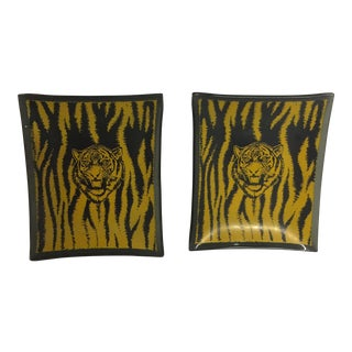 Mid-Century Glass Tiger Ashtray Set/2
