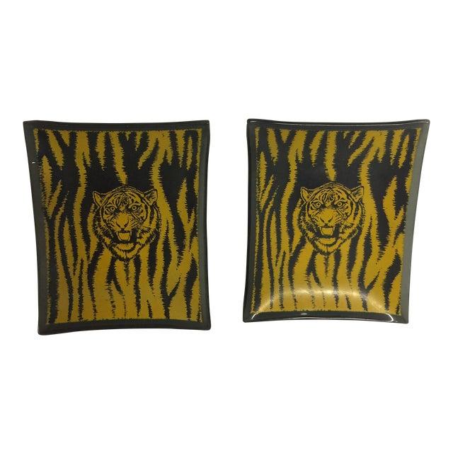 Mid-Century Glass Tiger Ashtray Set/2 - Image 1 of 6