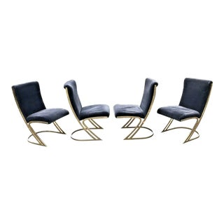 1970s Mid Century Milo Baughman Style Dining Chairs - Set of 4 For Sale