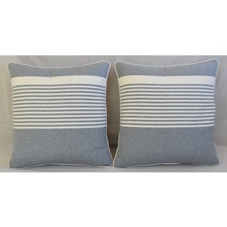 "French Gray & White Nautical Striped Feather/Down Pillows 22"" Square - Pair Preview"