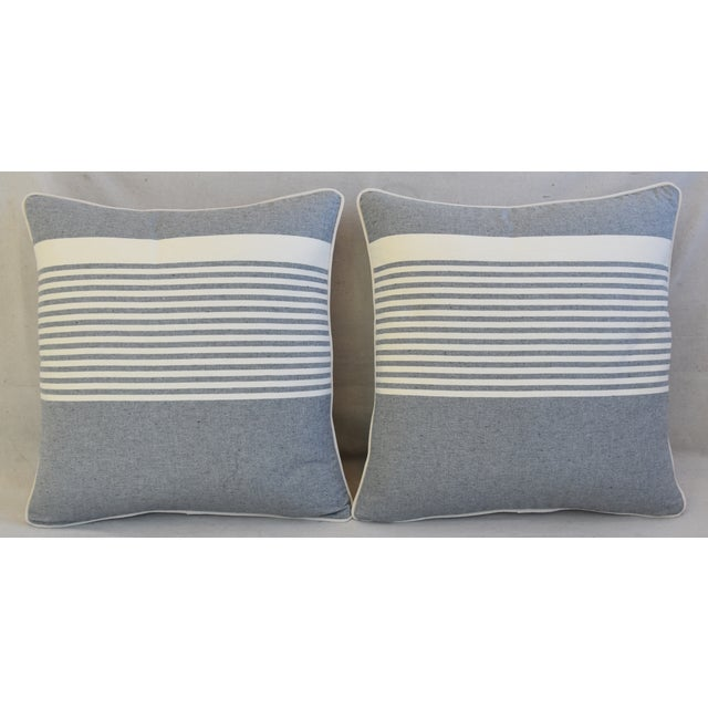 Pair of custom-tailored pillows in vintage French gray-and-white striped cotton fabric. New bone white velvet fabric...