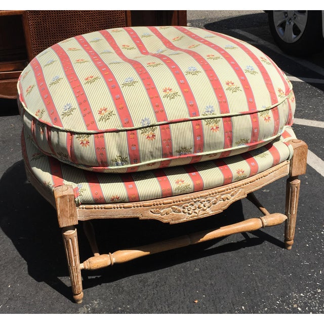 Large Regency Style Pink Striped Upholstered Ottoman For Sale - Image 4 of 6