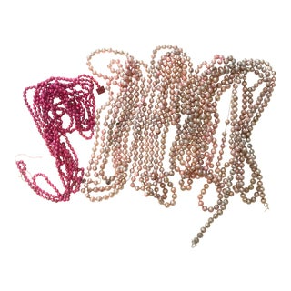Pink Mercury Glass Garland Lot - 5 Strands