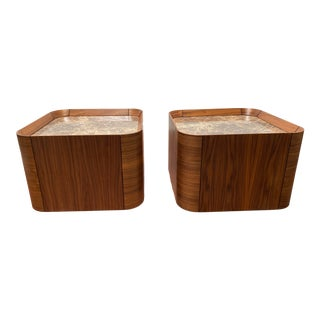 Roberta Schilling Contemporary Acrylic Top and Walnut Veneered Panel Side Tables - a Pair For Sale