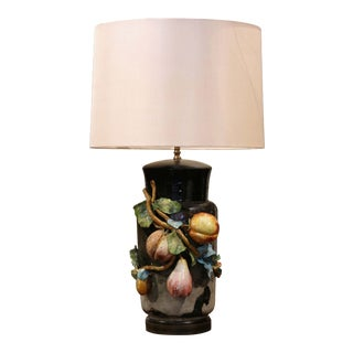 19th Century French Painted Ceramic Barbotine Table Lamp From Montigny-Sur-Loing For Sale