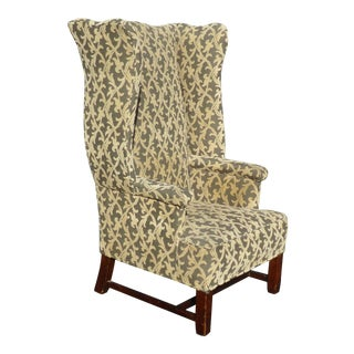 Vintage French Modern Velvet Green Floral Design Throne Wingback Accent Chair For Sale