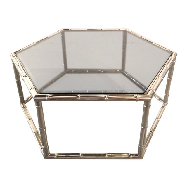 Faux Bamboo Nickel and Smoked Glass Cocktail Table by Mastercraft For Sale