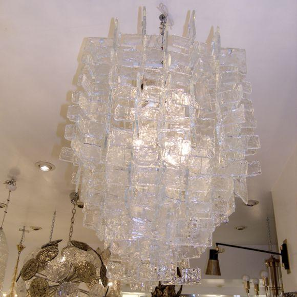 Early 20th Century Large Mazzega Chandelier / Interlocking Glass C Shapes For Sale - Image 5 of 5