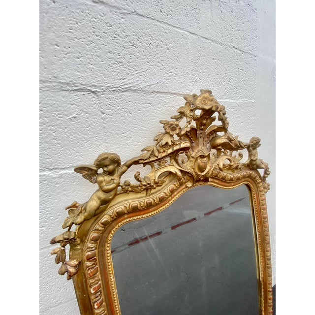 French Giltwood Carved Flowers and Cherub Louis Style Mirror For Sale - Image 4 of 13