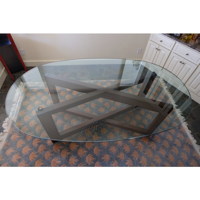 Contemporary Glass & Mahogany Dining Table - Image 4 of 7