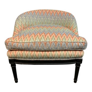 Vintage Chevron Ikat Upholstered Lowback Chair For Sale