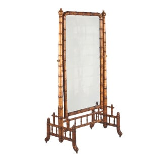 Late 1800s Napoleon III Faux-Bamboo Psychee Mirror For Sale