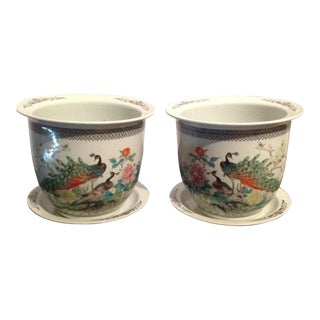 1980s Vintage Ceramic Planters & Saucers and Elegant Colorful Peacock and Floral Motif - a Pair For Sale