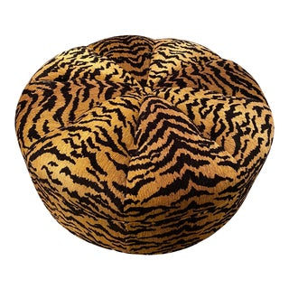 Italian Silky Tiger Woven Heavy Chenille Ottoman For Sale