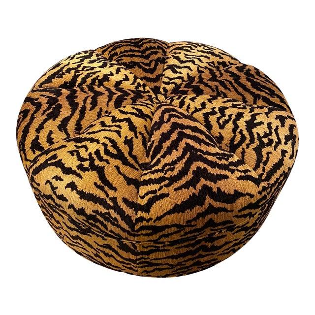 Italian Silky Tiger Woven Heavy Chenille Ottoman For Sale
