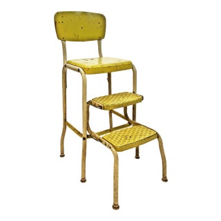 Mid Century Yellow Metal Cosco Step Stool