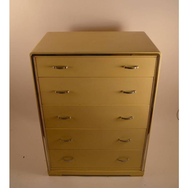 Norman Bel Geddes Five-Drawer High Boy Chest Designed by Norman Bel Geddes for Simmons Furniture For Sale - Image 4 of 7