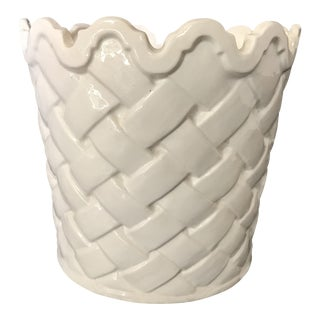 White Basketweave Cachepot with Scalloped Rim