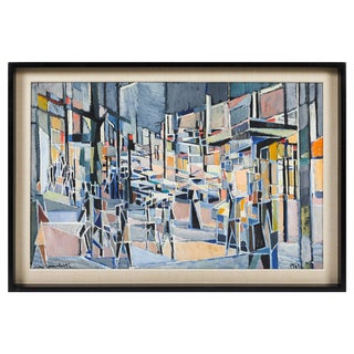 "Oil Painting on Canvas Titled ""Paris Boulevard by Night"" by Jean Lamorlette For Sale"