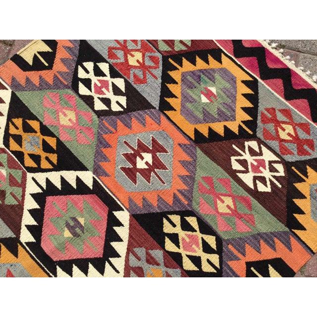 Pink Colorful Vintage Turkish Kilim Rug For Sale - Image 8 of 10