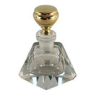 14k Cut Crystal Perfume Vanity Bottle For Sale