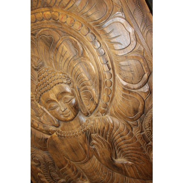 1990s Vintage Hand Carved Buddhism Panel For Sale - Image 4 of 8