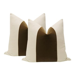 "22"" Chestnut Brown Velvet Panel & Linen Pillows - a Pair"